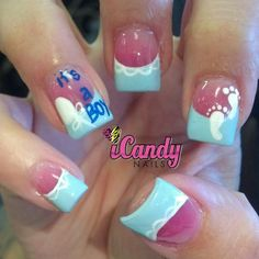 baby shower nails so cute but for a girl of course