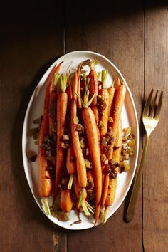 Roasted Carrots with Chestnuts and Golden Raisins #myplate #veggies #inseason #fall