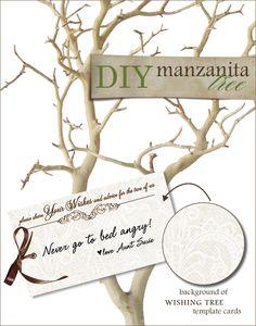 DIY, Do It Yourself, Manzanita Tree and Wish Card, Manzanita, Wish, Wish Tree, print, templates, download