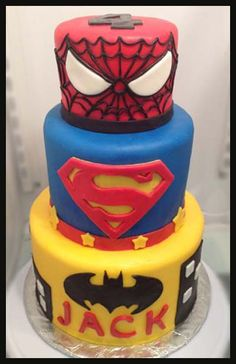 Super Hero Cake  How to make Fondant here.