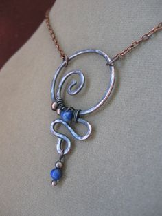 bead necklace ideas, colors, swirl, chains, sun catcher, beads, brass, wire pendant, blues