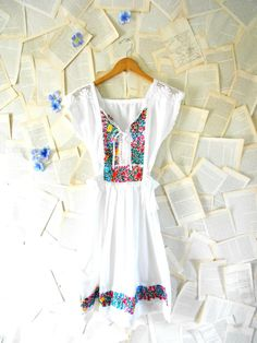 Vintage 70s Oaxacan Hand Embroidered Dress Size XS Small