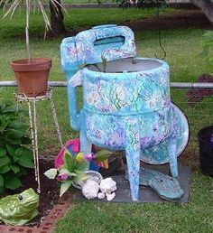 Old time wringer washing machine garden chairs, novel idea, yard, treasur, fun thing, outdoor, craft idea, garden idea, fish ponds
