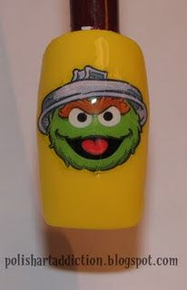 Stickers of Sesame St. :  Nail Art Idea.