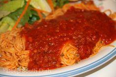 Deep South Dish: Homemade Fresh Tomato Spaghetti Meat Sauce