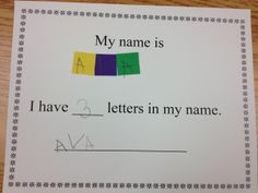 Name activity for counting letters in names and differentiating letters and words.  Free printable too!