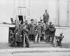 Ord & Staff, South Portico, White House of the Confederacy, 1865