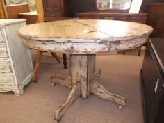 $249 - This shabby round vintage table is painted, distressed, antiqued, & finished with a clear wax! ***** In Booth F9 at Main Street Antique Mall 7260 E Main St (east of Power RD on MAIN STREET) Mesa Az 85207 **** Open 7 days a week 10:00AM-5:30PM **** Call for more information 480 924 1122 **** We Accept cash, debit, VISA, MasterCard or Discover.