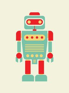 robots, nursery wall art, retro robot, art prints, baby art, robot print, nurseri, kid, angela ferrara