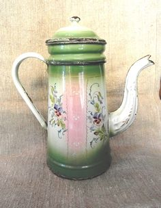 Enamelled  French COFFEE POT hand painted PANSIES Pink  shades. $260.00, via Etsy.