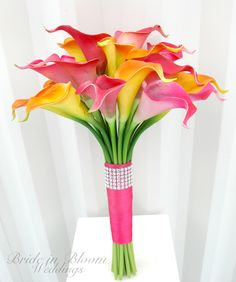 Wedding Bouquet real touch calla lily Bridal bouquet hot pink orange bridal flowers via Etsy.