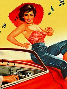 musicbabes:  Rock'n'Roll Radio Girl Postcard