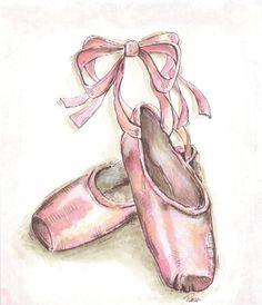 black ballerina | Pink Ballet Shoe Framed Wall Art for a Girl's Room