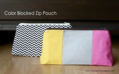 Zaaberry: Handmade Gift Ideas - Color Blocked Zip Pouch