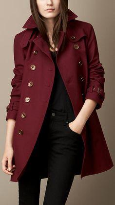 Burberry Brit Mid-Length Cotton Poplin Trench Coat oxblood