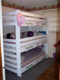 Triple bunk bed built using plans from Bunk Beds Unlimited - bed built by one of our customers