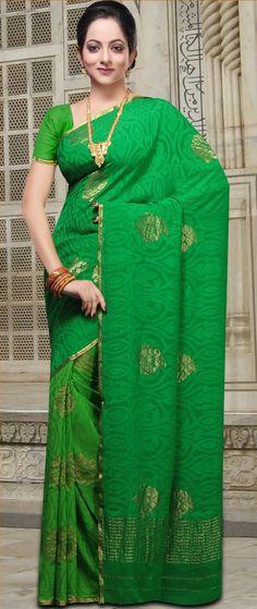 #Green #Banarasi Pure Khaddi #Saree With Blouse @ $184.64 | Shop @ http://www.utsavfashion.com/store/sarees-large.aspx?icode=snn22b