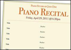 piano recital program template freebie