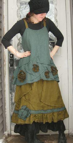 Sarah Clemens lagenlook shabby dress jumper skirt loveliness