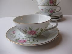 Vintage Fine China Japan Roseanne Pink Blue Floral by thechinagirl