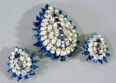 3 PC Kramer Brooch Pin Clip on Earrings Sapphire Blue White Rhinestones Dazzle | eBay