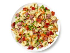 Pasta Salad With Salami, Carrots, Peas and Roasted Red Peppers from FoodNetwork.com