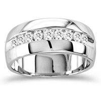 mens diamond wedding band engagement ring six stone 14k white gold 0