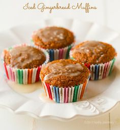 Vegan Iced Gingerbread Muffins - these would be a great Christmas morning breakfast!