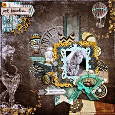 Rhonda Van Ginkel created this stunning layout featuring the Somewhere In Time collection. Love all the elements and that gorgeous photo. #BoBunny, #scrapbooklayouts, #layouts @snapwhiz