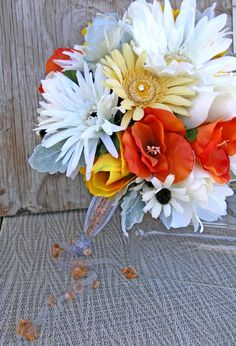 Yellow Bridal Bouquet, Gray Silk Wedding Bouquet, Pearls