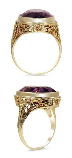 Edwardian Rose Amethyst Ring
