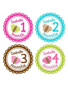 CUSTOM Baby Girl Monthly Stickers Personalized with Baby's Name Butterfly Nursery Theme Butterflies for Baby Girls Month to Month Stickers on Etsy, $12.00
