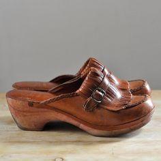 Vintage 1970's wooden bottom leather buckle/fringe clogs