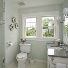 Valspar paint in Homestead Resort Sky Blue 7004-5. A light, almost neutral color that works well in any space.