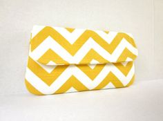 This would look great with gray, navy or green.  Who knew yellow could be so versatile!    Yellow and White Chevron Clutch by waterpath by waterpath on Etsy