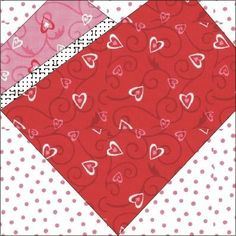 Dressed heart paper pieced quilt block Pattern