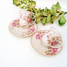 Demitasse Cup and Saucer Set Pair Ceramic Orleans