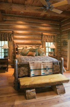 wooden chairs, rustic bedrooms, bedroom idea, bedroom decor, benches, logs, log cabins, cabin bedrooms, bedroom designs