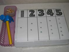 counting and numbers  with hammer and nails