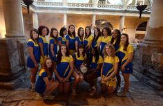 Team Bath Superleague netball squad 2013 at the Roman Baths. Can you spot Pamela? #Team #Bath #Pamela #Cookey #Netball