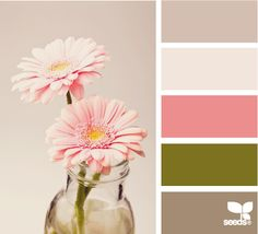 Love these floral colors! The three brown tones allow the pink and green to pop, even when used sparingly.
