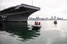 SAN DIEGO (Aug. 8, 2013) Sailors assigned to the aircraft carrier USS Ronald Reagan (CVN 76) perform rigid-hull inflatable boat operations.