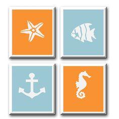 Nursery Wall Decor-Kids Room Art Prints-Set of 4 Prints Aquatic, Ocean and Nautical Theme for Nursery. $40.00, via Etsy.