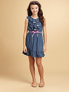DKNY - Girl's Loretta Ruffled Denim Dress