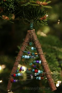 Beaded Twig Christmas Ornaments - Housing a Forest