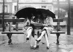 Fashion Workers Paris 1928   Photo: Anonymous paris, fashion 1900s, bench, pari 1928, umbrella, fashion worker, sweet peas, three women, rain