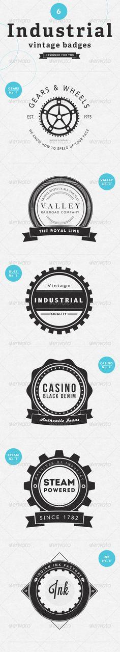 vintage badges, industrial logo design, industrial design logo's, industri vintag, industri logo