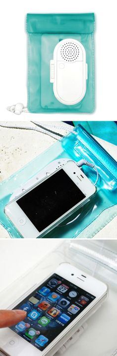 Waterproof Speakers - Talk on the phone with the speaker and control the keys through the plastic.