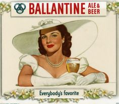 1948 Ballantine Ale and Beer Brunette Debutante Beauty Masonite Sign Display Lithograph U.S.A. Breweriana Pin Up Advertising
