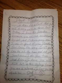 Have parents write a letter to their children encouraging them to do well on standardized testing